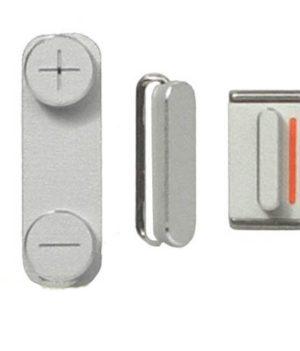 3 Tasten / Knöpfe / Button Set für iPhone 5 - Graphit silber