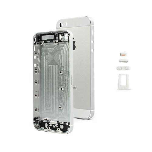 iPhone 5S Alu Backcover / Rückseite mit Mittelrahmen - Silber / Weiss