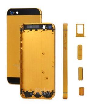 iPhone 5S Alu Backcover / Rückseite mit Mittelrahmen - Gold Orange / Schwarz